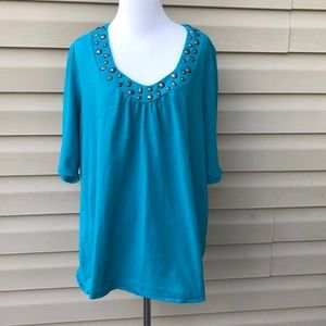 Lane Bryant women's short sleeve turquoise shirt